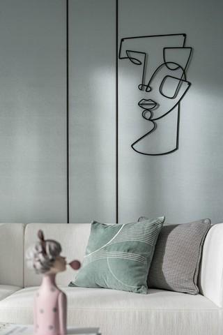 轻奢风两居室装修沙发墙特写