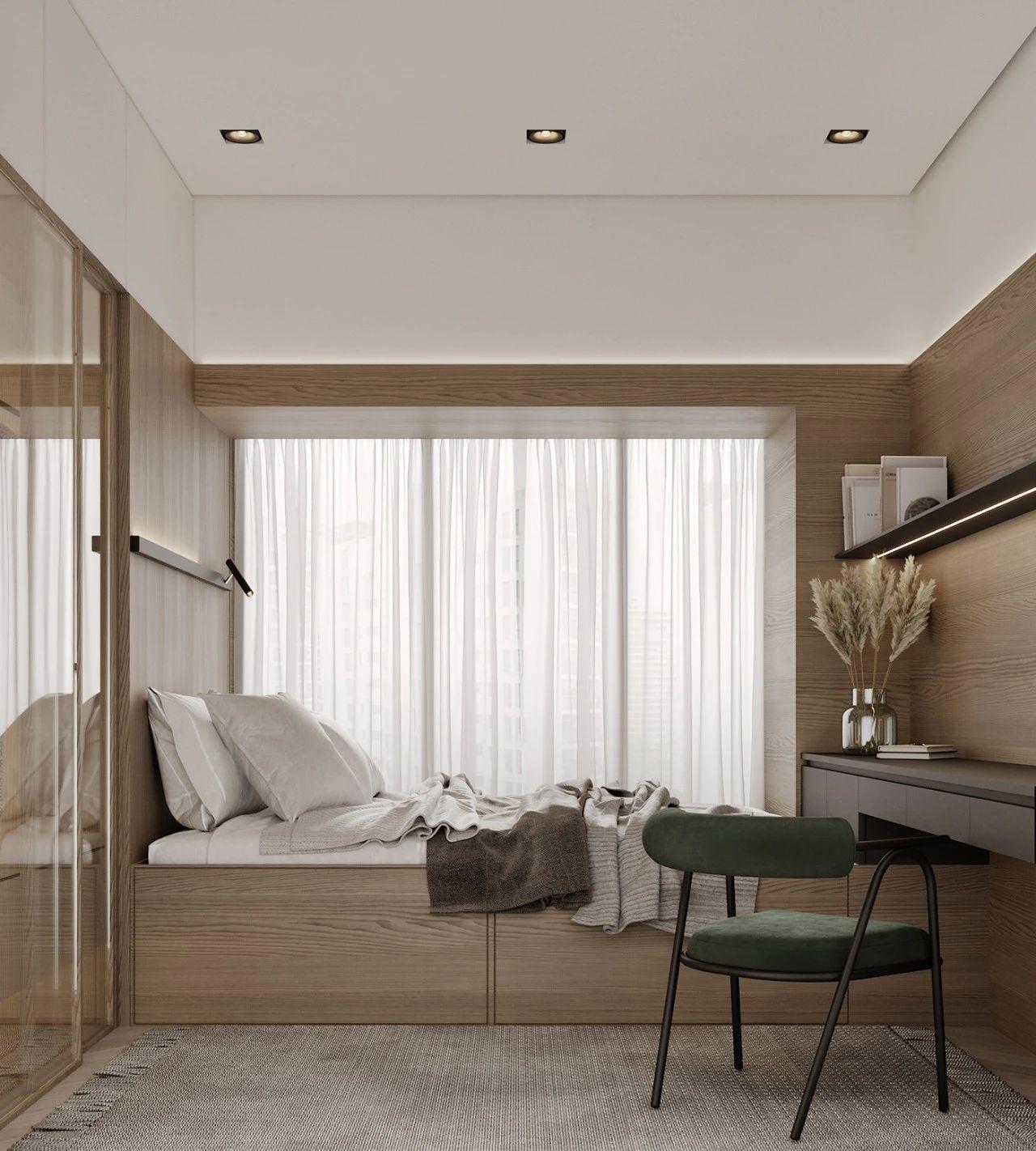 现代风三居榻榻米卧室装修效果图
