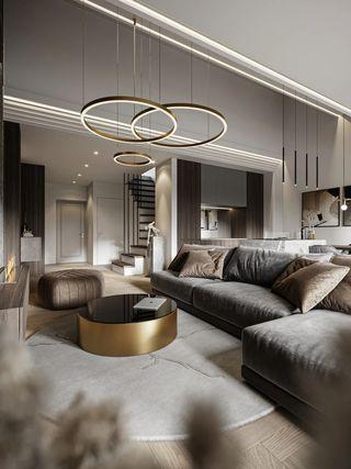 110m²现代轻奢客厅装修效果图