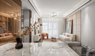 110平现代轻奢客厅装修效果图