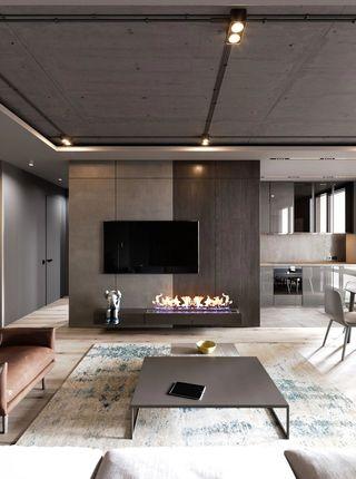 轻工业风公寓电视墙装修效果图
