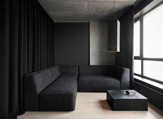 黑色系小戶型客廳裝修效果圖