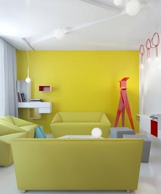 红黄暖色调现代小户型装潢图