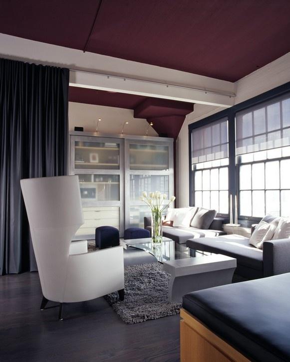 现代二居室紫色吊顶设计装修效果图