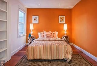 欧式风格卧室橙色墙装修效果图