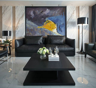现代家居客厅黑色茶几装饰图