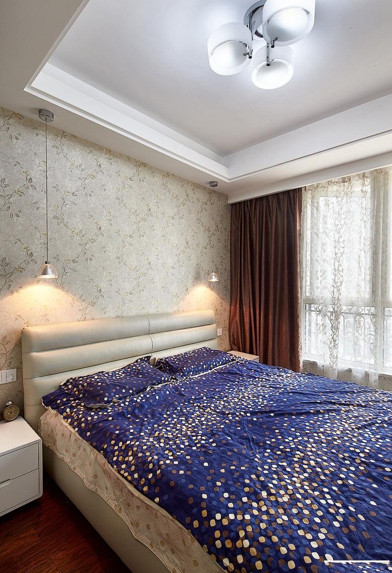 宜家风格卧室印花墙纸装饰