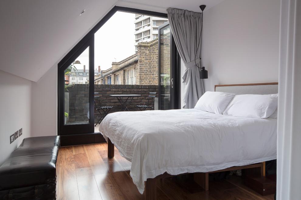 极简阁楼卧室 不规则推拉门效果图