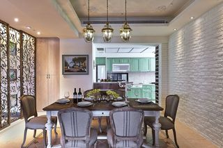 美式餐厅石灰背景墙装饰图