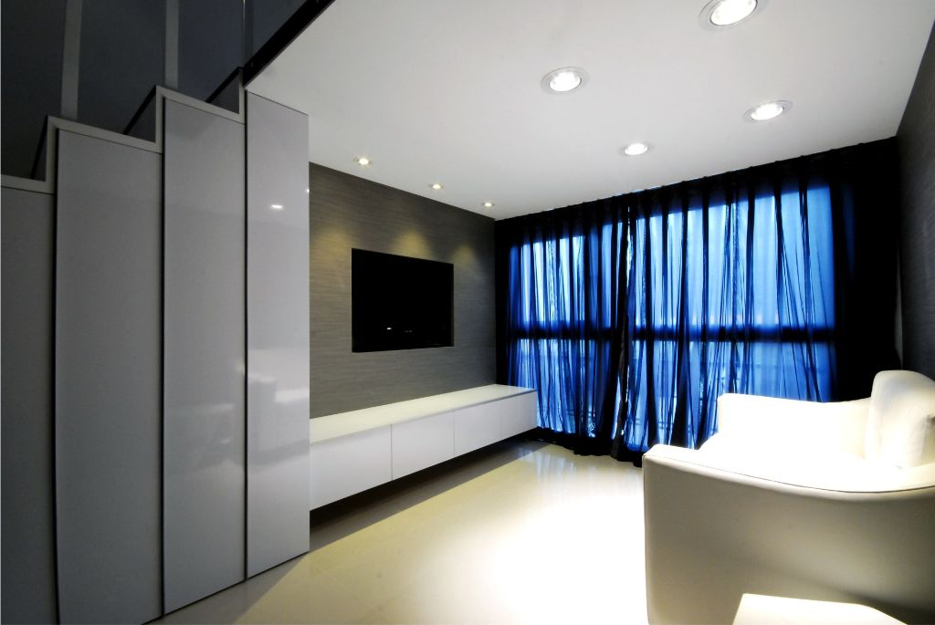 简约大方客厅 白色吊顶效果图