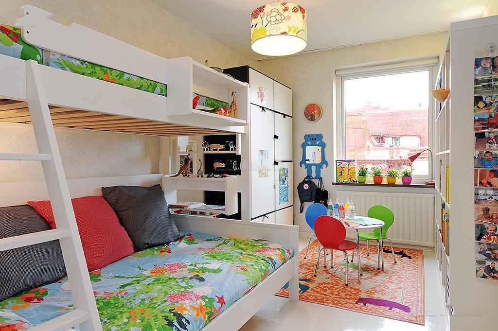 清新多彩北欧风 儿童房双人床设计