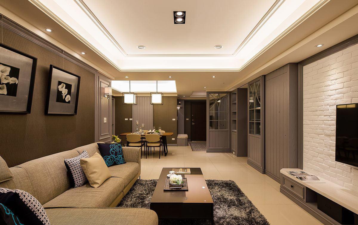 素雅现代客厅方形吊顶效果图