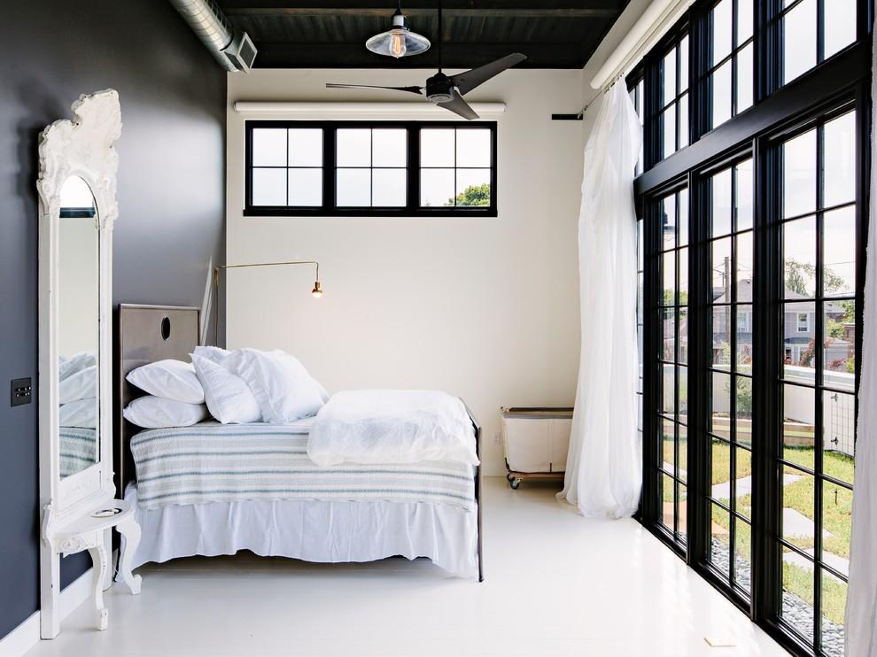 黑白北欧风情卧室窗户效果图