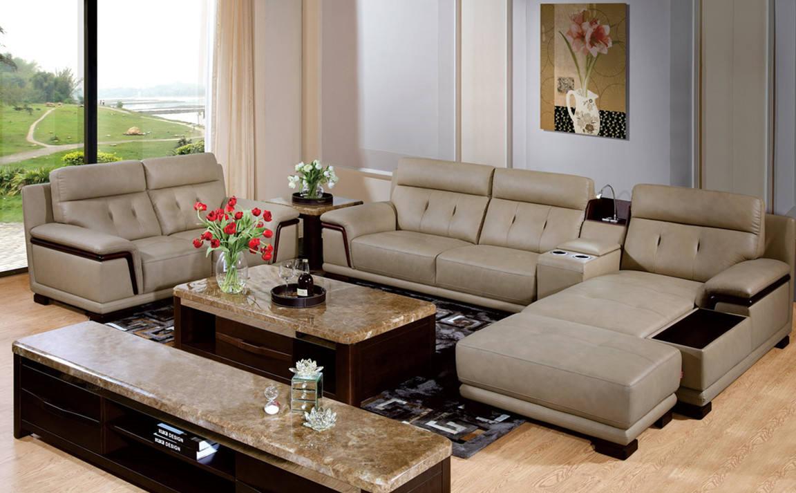 现代家装客厅真皮沙发效果图