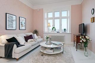 北欧风公寓客厅 甜美粉色系家居欣赏