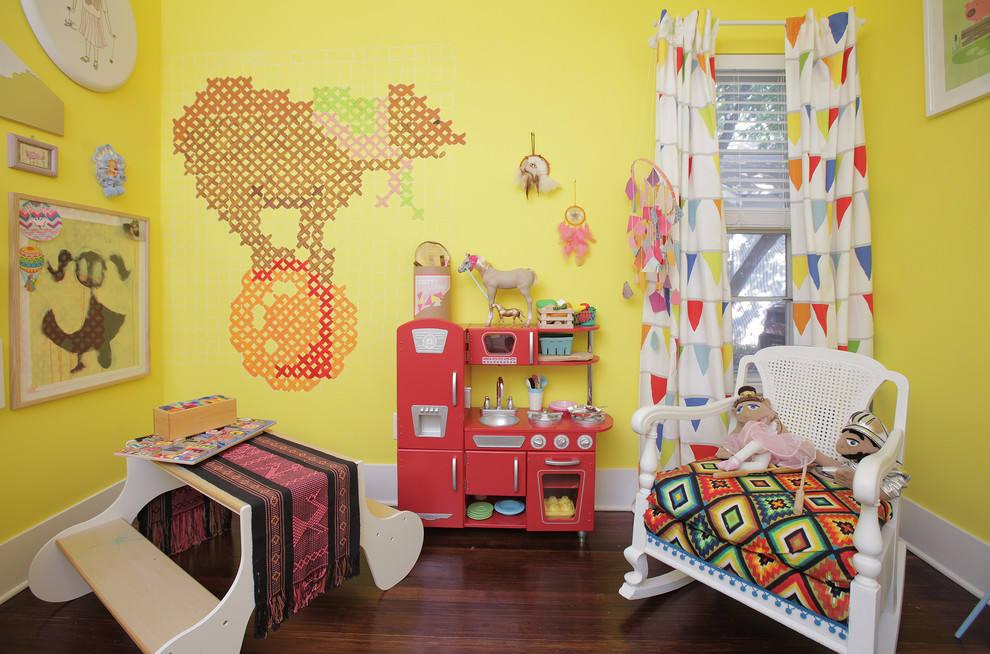 柠檬黄北欧风儿童房效果图