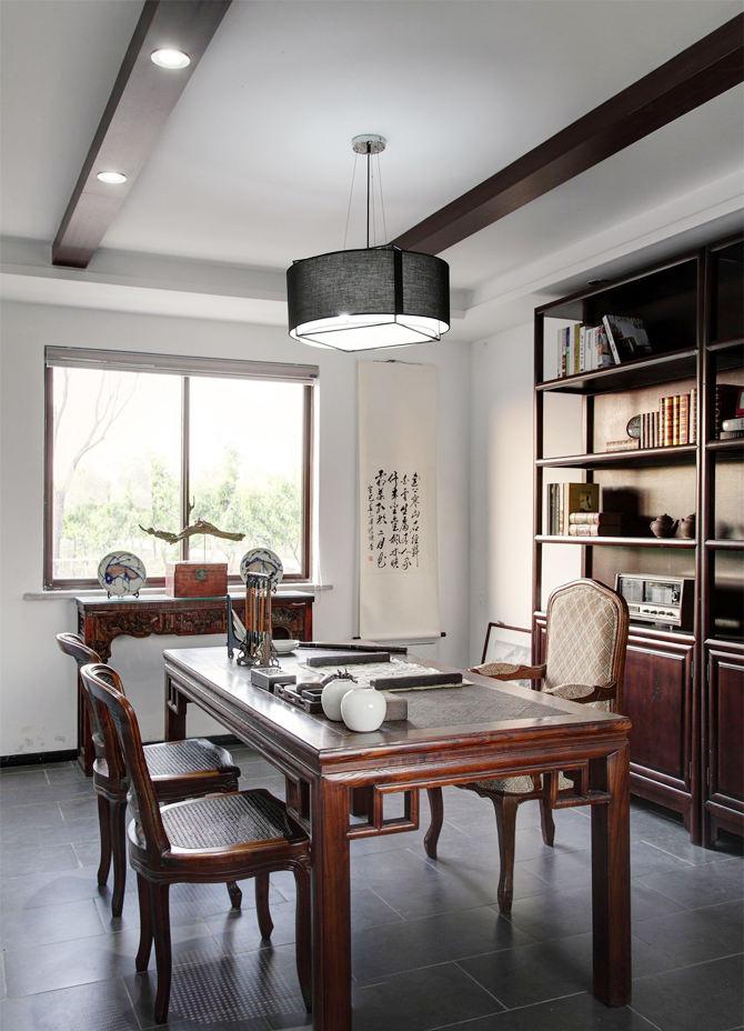 明亮中式书房装饰效果图