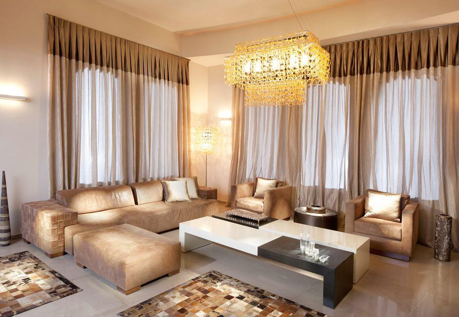 高端大气美式客厅窗帘效果图