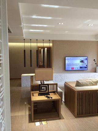 和风日式客厅原木台灯柜设计