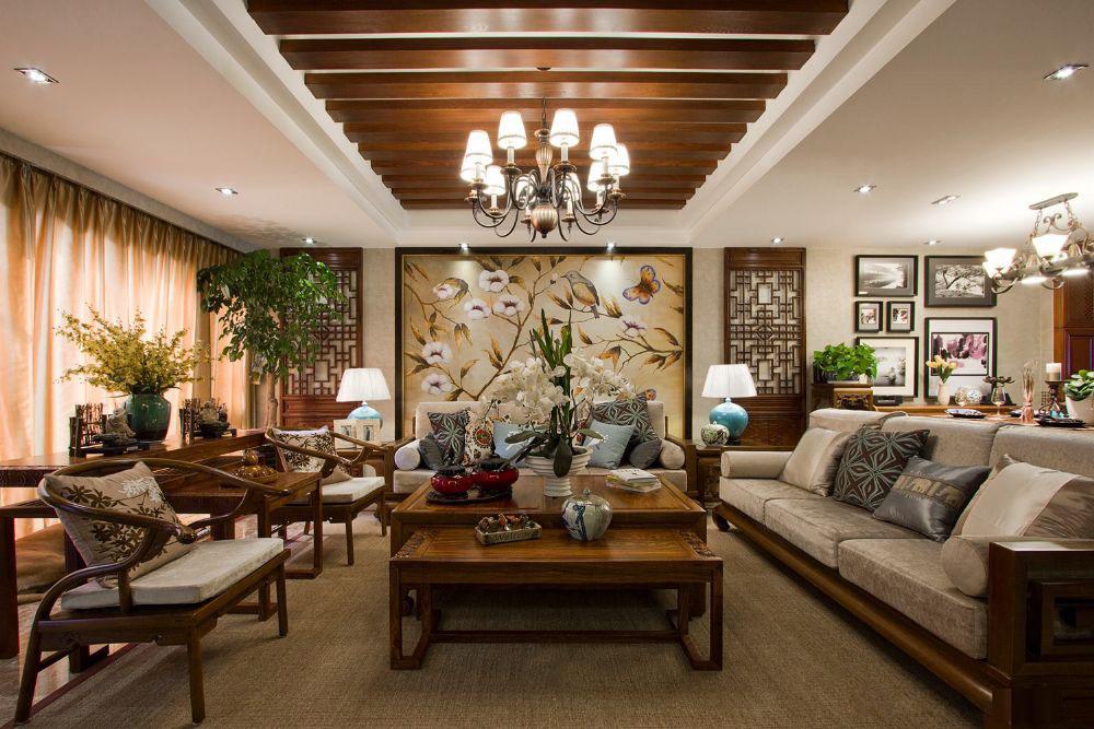 豪华东南亚风格客厅吊顶设计