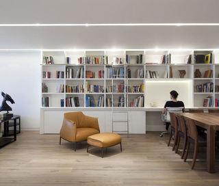 简约美式书房 白色书柜效果图