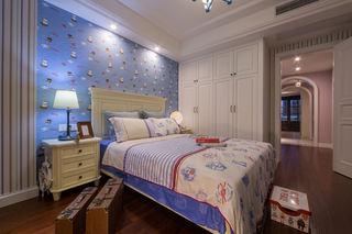 蓝色唯美美式儿童房装潢图