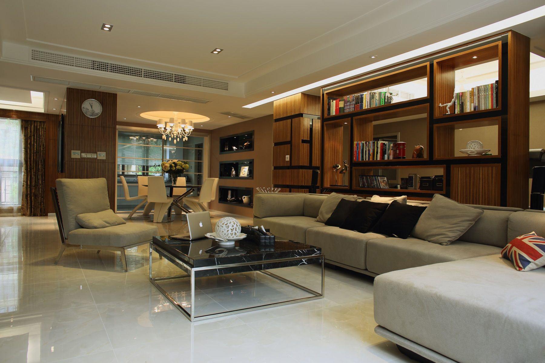 现代家装客厅博古书架设计