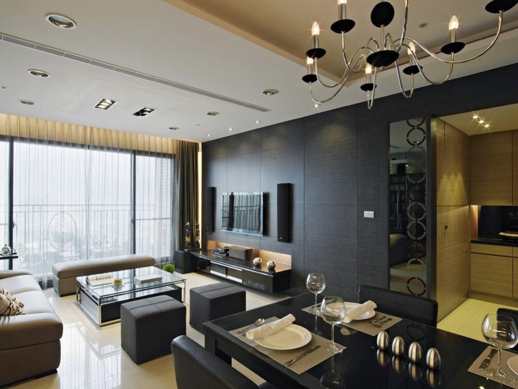 现代风客厅黑色电视背景墙效果图