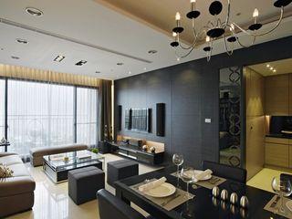現代風客廳黑色電視背景墻效果圖