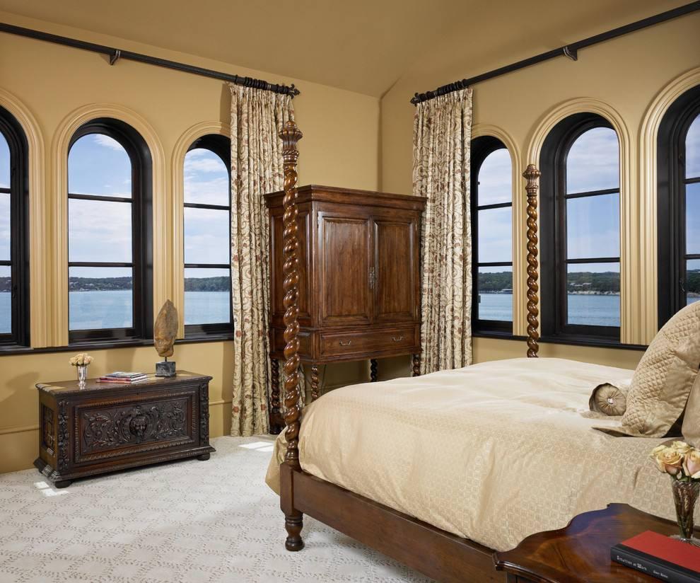 古典欧美式卧室 拱形窗户效果图