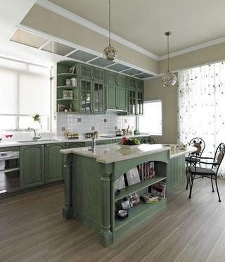 田园风格厨房绿色橱柜装饰图
