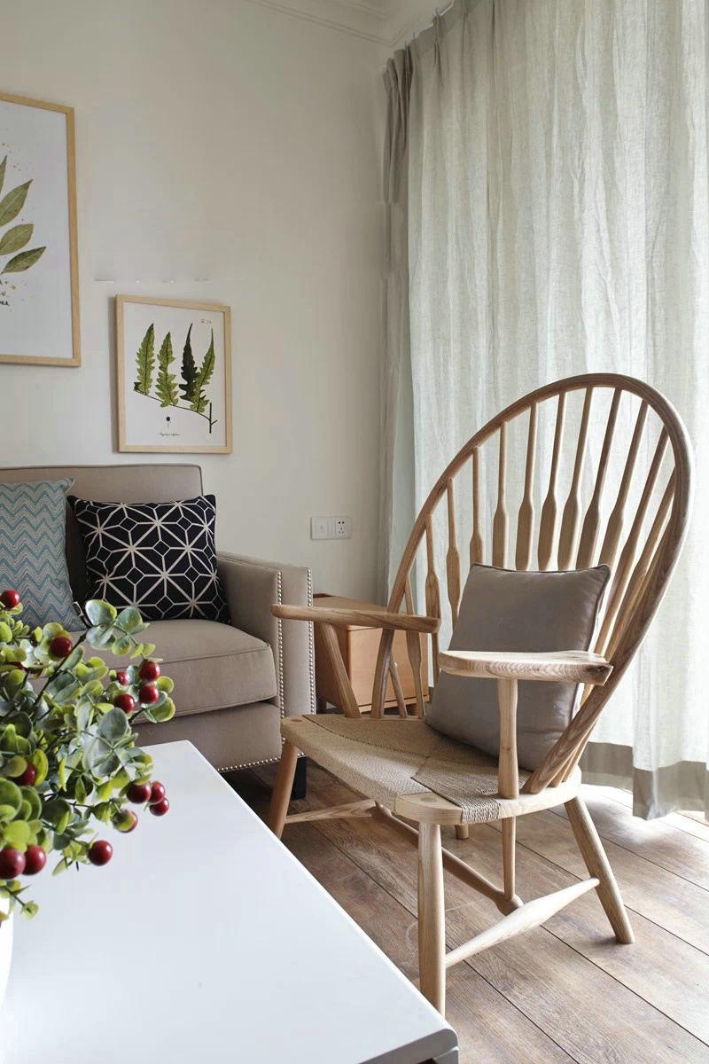 原木日式客厅实木椅装饰图