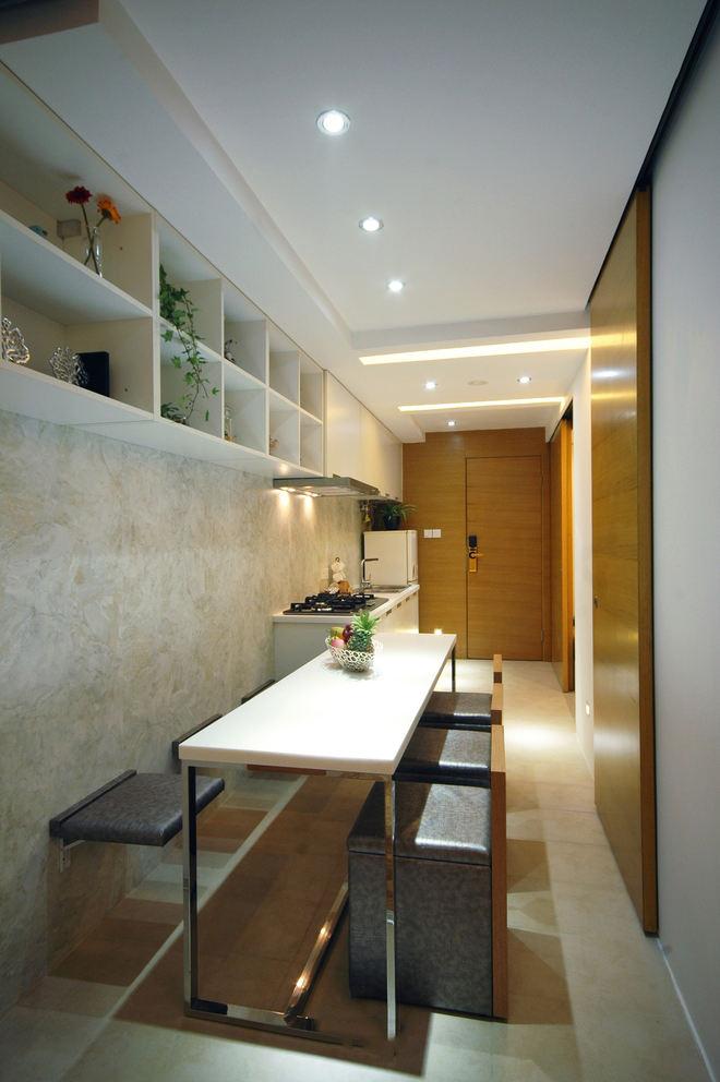 简洁日式餐厅墙凳装饰设计图