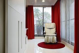 简约休闲区 时尚红色窗帘欣赏