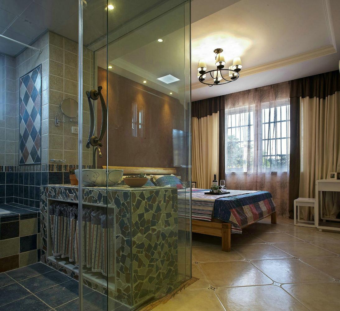 田园风卧室卫生间隔断设计
