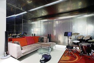 创意现代风娱乐室 金属隔音背景墙欣赏
