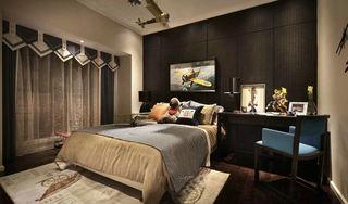 后现代家居卧室 黑色床头背景墙设计