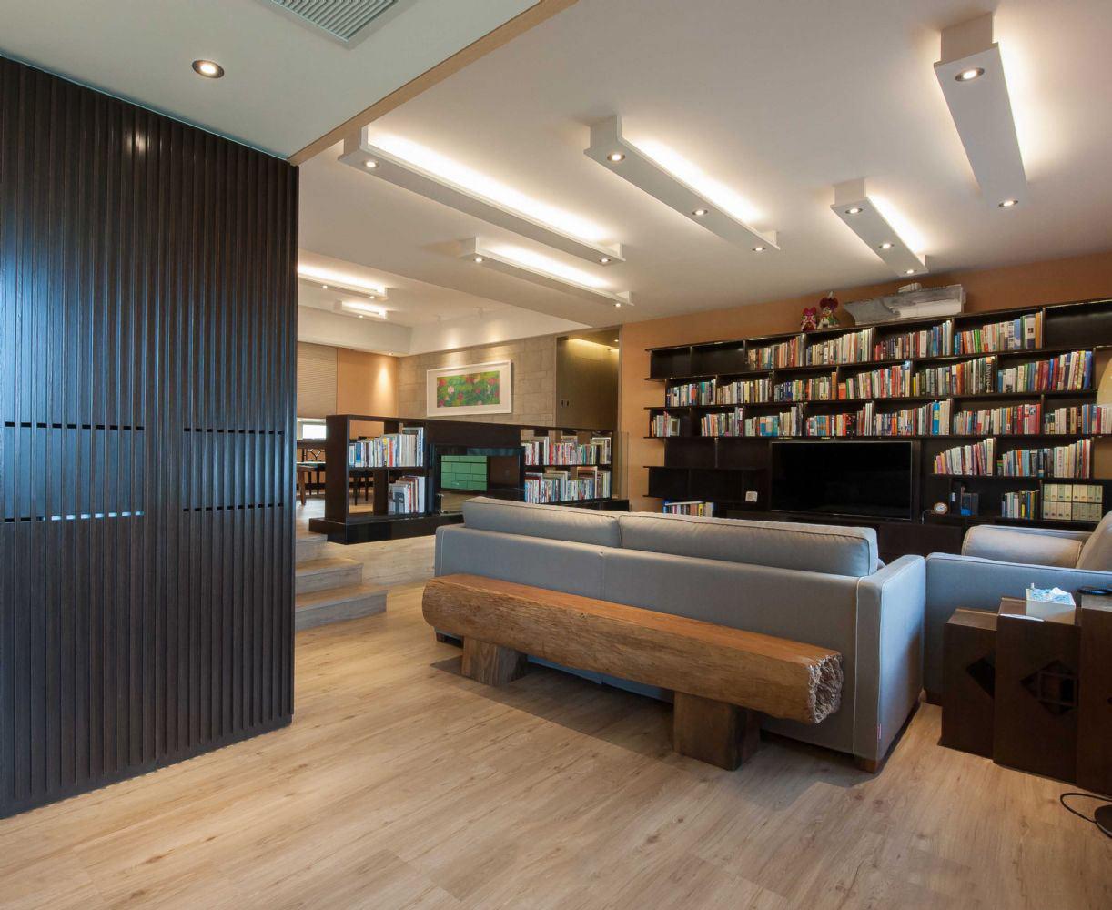 时尚现代客厅墙面书架案例图