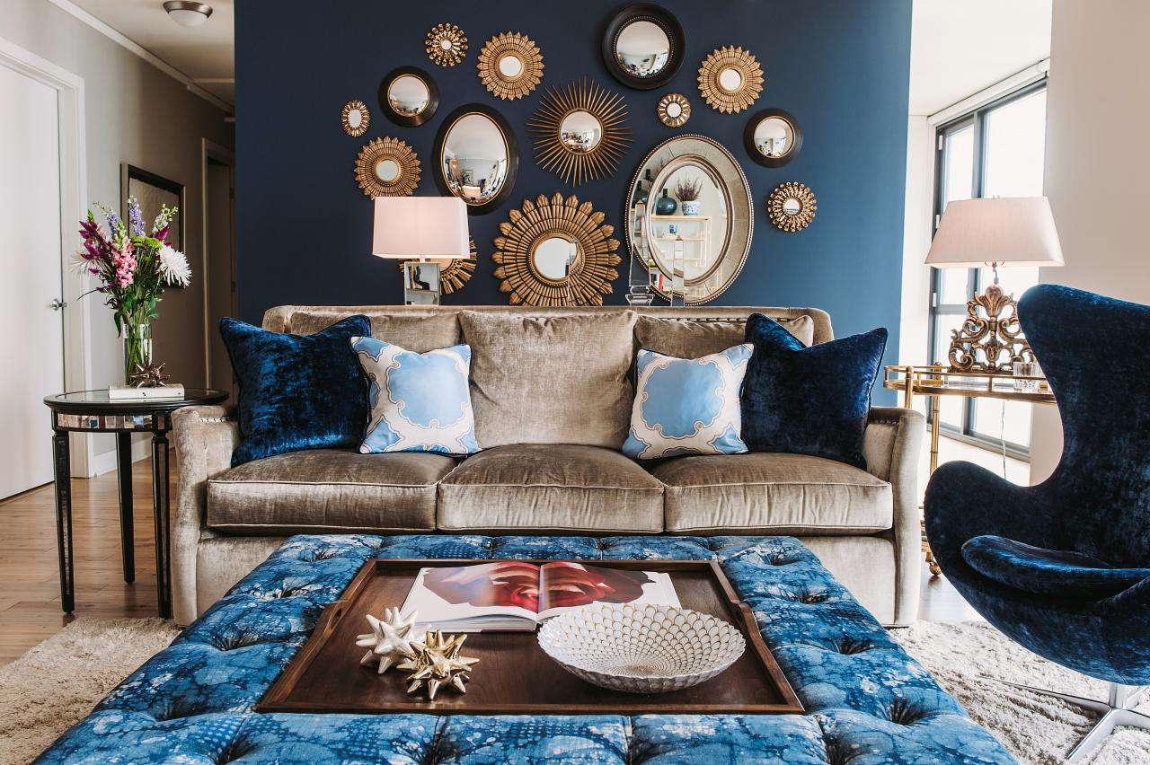 蓝色北欧风情 客厅沙发背景墙装饰
