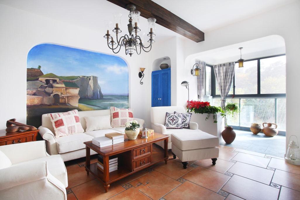 地中海风格客厅阳台设计