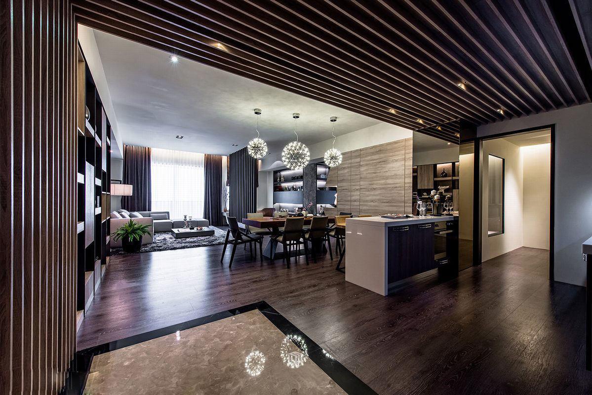 现代日式公寓 木质过道吊顶图片