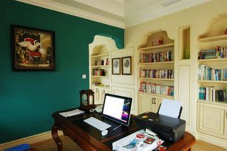 美式风格书房 深绿色背景墙装潢图