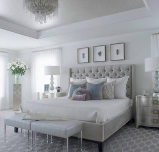时尚灰色系北欧风卧室效果图
