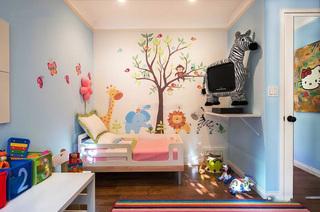 活泼天蓝色简欧儿童房设计图