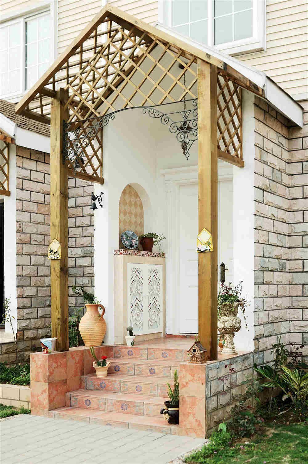 复古异域风混搭别墅 室外门厅过道设计
