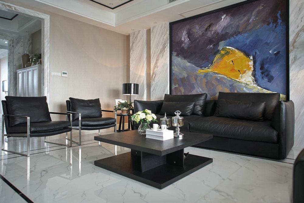 现代家居客厅黑色家装效果图