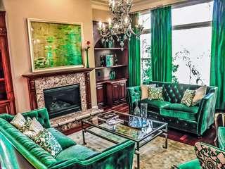 抽象派北欧风 镉蛋绿色客厅效果图