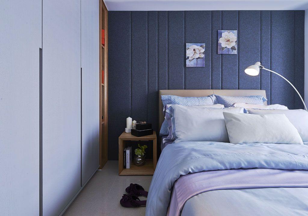 蓝色唯美混搭卧室布置