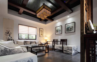 沉稳中式客厅古典吊顶效果图