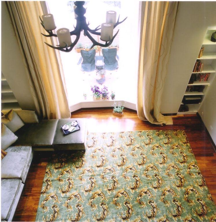 自然田园风客厅地毯装饰图